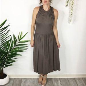 BODEN midi dress taupe Greco-Roman